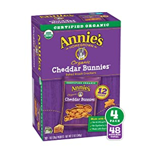 48 Pouches - Annie's Organic Cheddar Bunnies Baked Snack Crackers