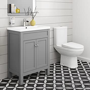 online store 657f9 3a003 600 mm Traditional Grey Bathroom Door Vanity Unit Basin Sink + Toilet  Furniture Set