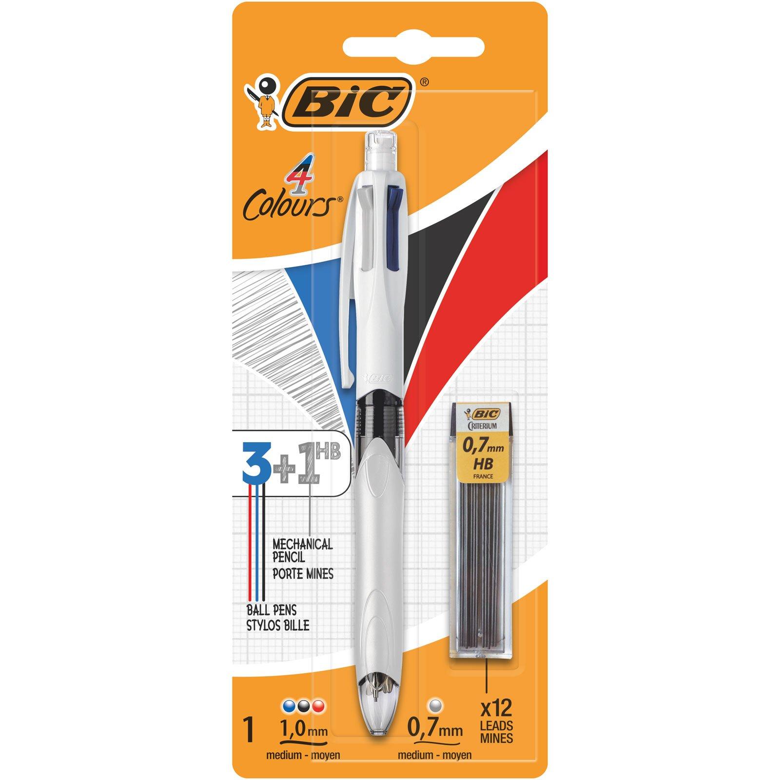 BIC 4 colores - Bolígrafo Multifunción 3+1HB con 12 Minas de Recambio 0,7 mm product image