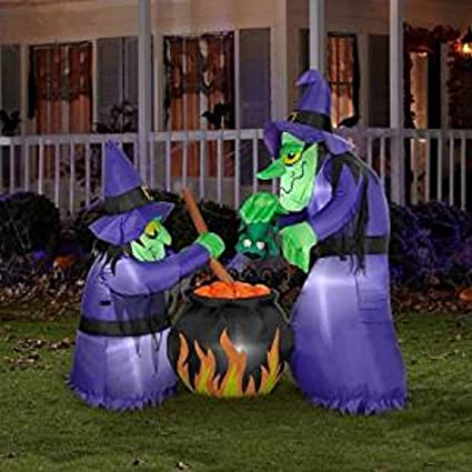 6 Ft Double Witch Cauldron Inflatable Halloween Outdoor Prop Decoration Yard