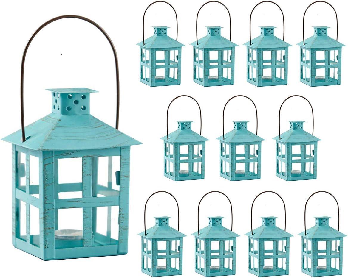 Kate Aspen Decorative Lanterns, Distressed Metal Vintage Mini Wedding Lantern, Centerpiece for Wedding Table, Accent Piece and Home Decor, Wedding Favors and Baby Shower Favors (Turquoise, 12)