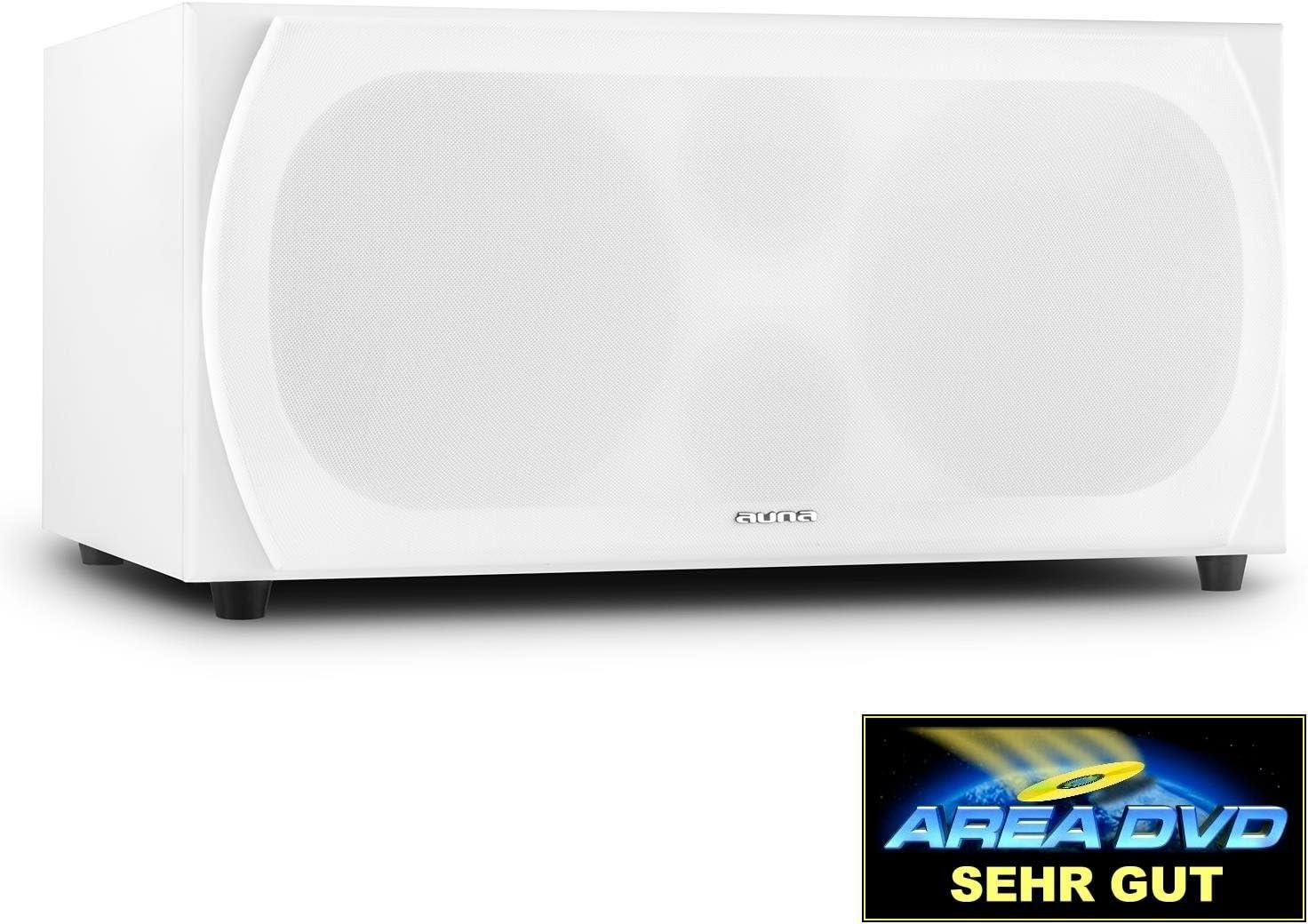 Auna Linie 501SW WH Active - Subwoofer (250 W, Altavoz de subgraves (subwoofer) Activo, 35-200 Hz, 6 ?, Blanco, 57 cm)