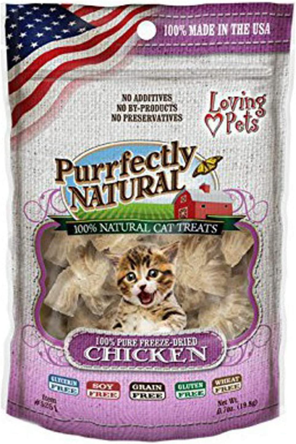 Loving Pets Freeze Dried Chicken Cat Treats, Purrfectly Natural, 6 Ounce, 12 Pack