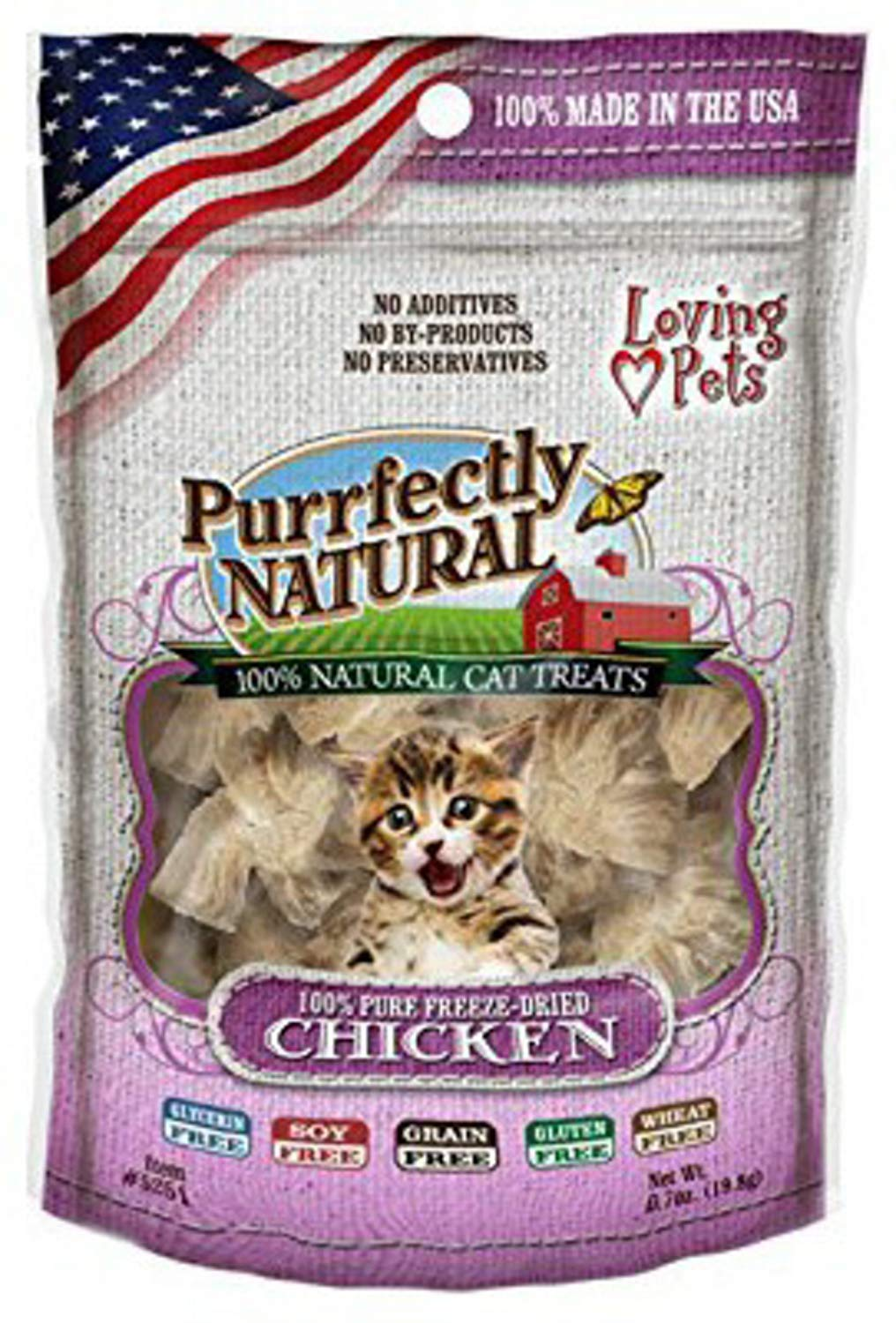 Loving Pets Freeze Dried Chicken Cat Treats, Purrfectly Natural, 6 Ounce, 24 Pack by Loving Pets