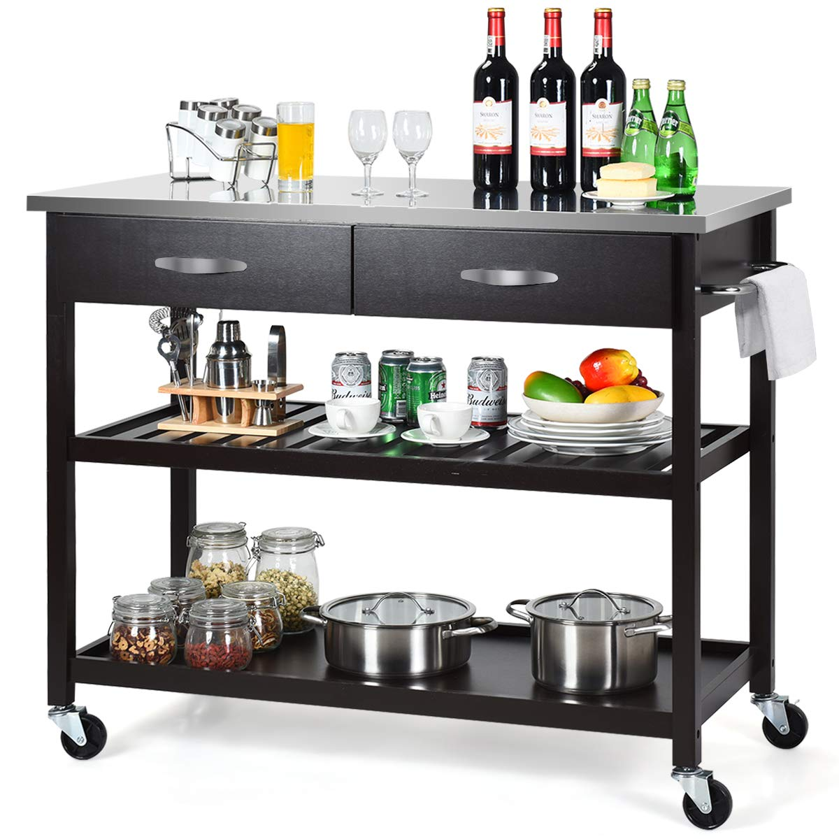 Giantex Kitchen Trolley Cart Rolling Island Cart Serving Cart Large Storage with Stainless Steel Countertop, Lockable Wheels, 2 Drawers and Shelf Utility Cart for Home and Restaurant Espresso