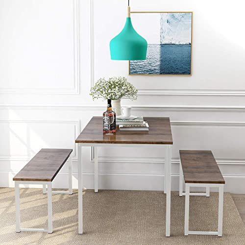 Dining Room Table Set, 3 Pieces Farmhouse Kitchen Table Set with Two Benches, Metal Frame and MDF Board, Modern Furniture for Home, Cafeteria, Apartment and Farm House Brown