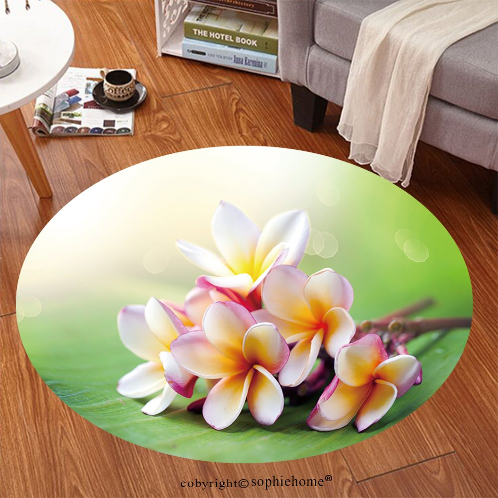 sophiehome Soft Carpet 105517121 Frangipani Tropical Spa Flower Plumeria Shallow DOF Anti-skid Carpet Round 47 inches