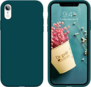 "iPhone XR Case, DUEDUE Liquid Silicone Soft Gel Rubber Slim Cover with Microfiber Cloth Lining Cushion Shockproof Full Body Protective Case for iPhone XR 6.1"" Cute for Women Men, Teal"