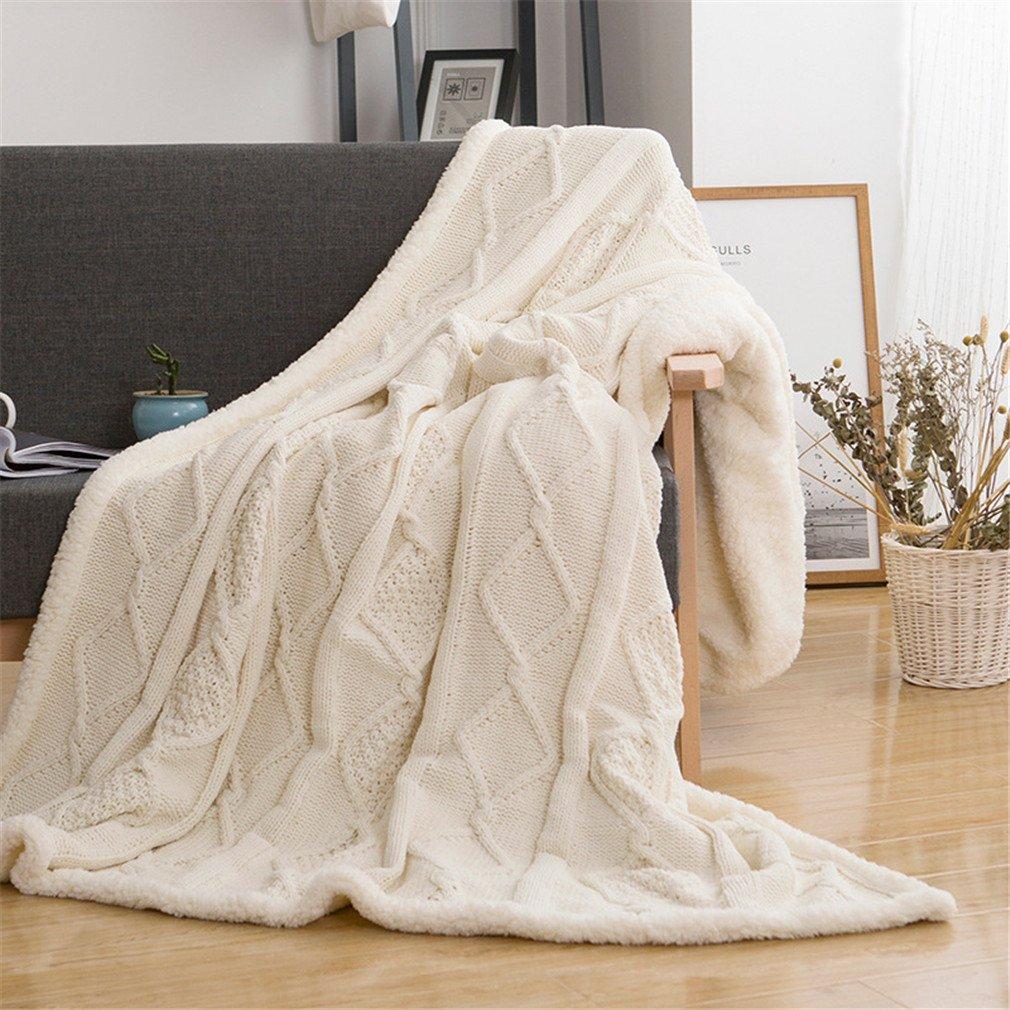 MIRUIKE - Manta de Punto para sofá, Cama, sofá, algodón, Blanco, 59 ...