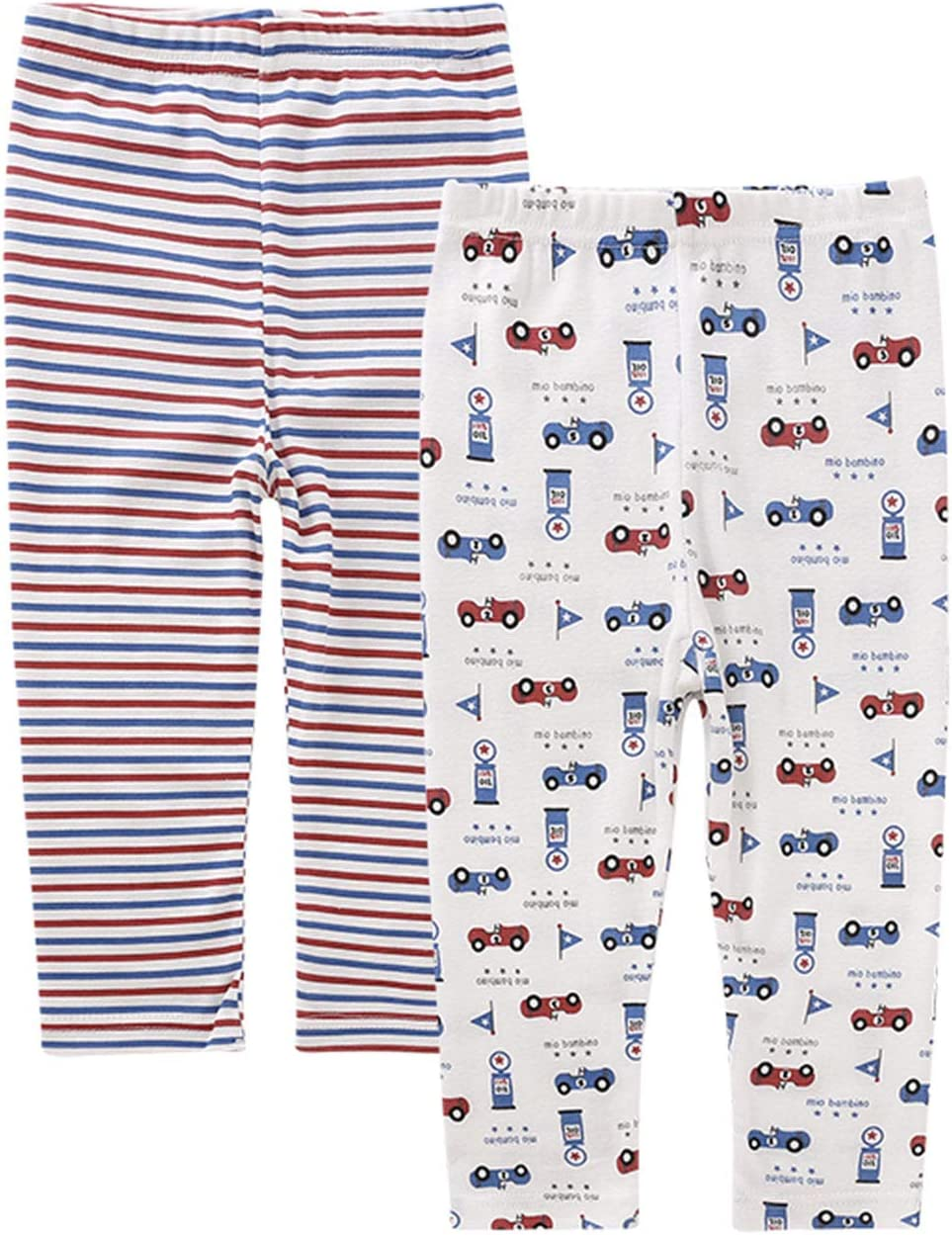 AIEOE Baby Organic Cotton Pants Soft Comfortable Cartoon Pattern Pants 2 Pack