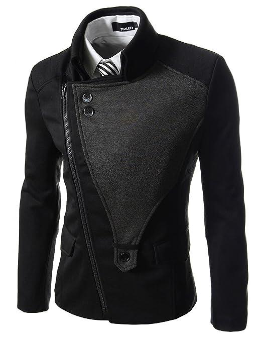 djk21 TheLees hombre casual Rider estilo elástico delgado cremallera chaqueta jersey - negro - : Amazon.es: Ropa y accesorios