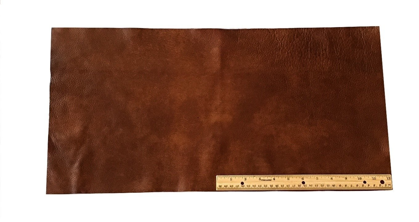 Upholstery Leather Piece Cowhide Medium Brown Light Weight 12 x 24 inches 2 SF Dangerous Threads 4336862338
