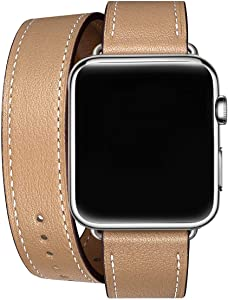 WFEAGL Compatible Watch Band 38mm 40mm 42mm 44mm, Top Grain Leather Double Tour Band for Watch Series 4,Series 3,Series 2,Series 1 (Camel Double Tour Band+Silver Adapter, 38mm 40mm)