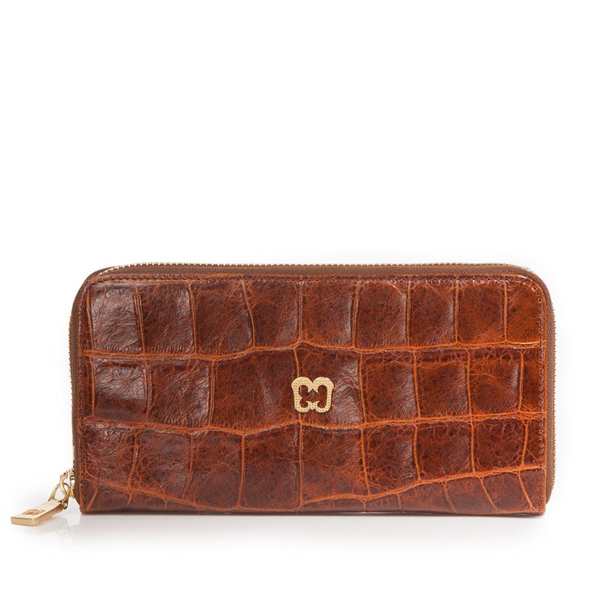 Eric Javits Luxury Fashion Designer Women's Handbag - Zip Wallet - Burnt