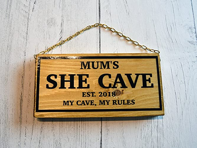 Wife Gift Mum Year Plaque Woman Cave Est Lady Lair Mother Personalised She Shed Wooden Sign My Shed My Rules Femme Den Present