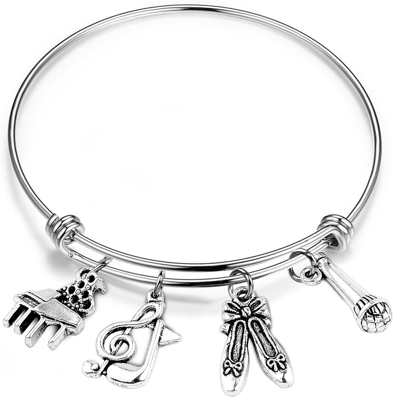Music Charm Bracelet SEIRAA Music Bracelet Musician Gift Music Charm Expandable Bangle Gift for Music Lover