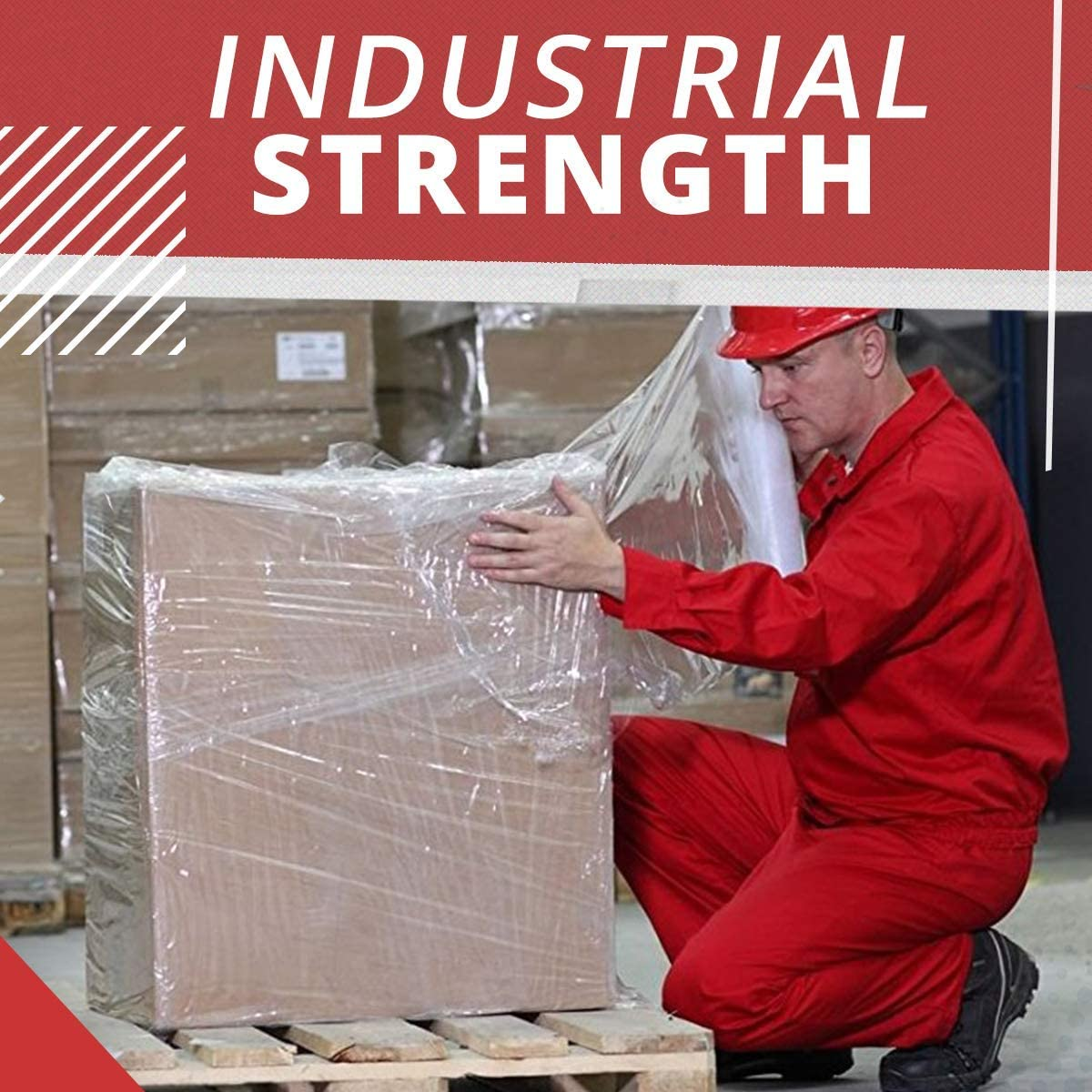 Self-Adhering Packing  Moving  Heavy Duty Shrink Film Roll Clear 1 Pack 2 Core Stretch Wrap Industrial Strength Extra Thick 17 x 800 SqFt 80 Gauge Clear Cling Plastic Pallet Supplies