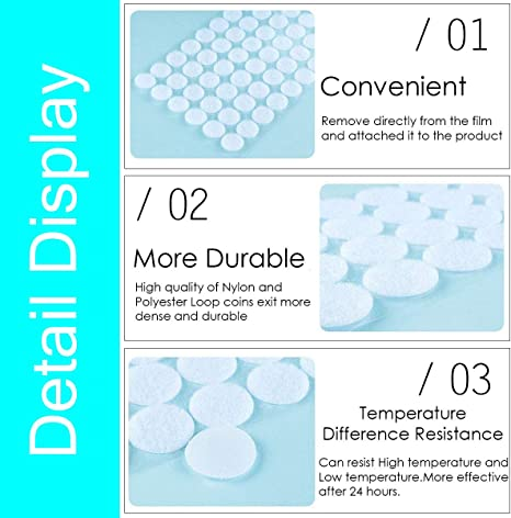 350 Pairs 700PCS Home 350 Pairs 0.39 Diameter Sticky/Coins with Waterproof Sticky Glue 1400PCS Self Adhesive Dot Tapes Very Suitable for Classroom Hook /& Loop Dots Office 0.59 and 700PCS
