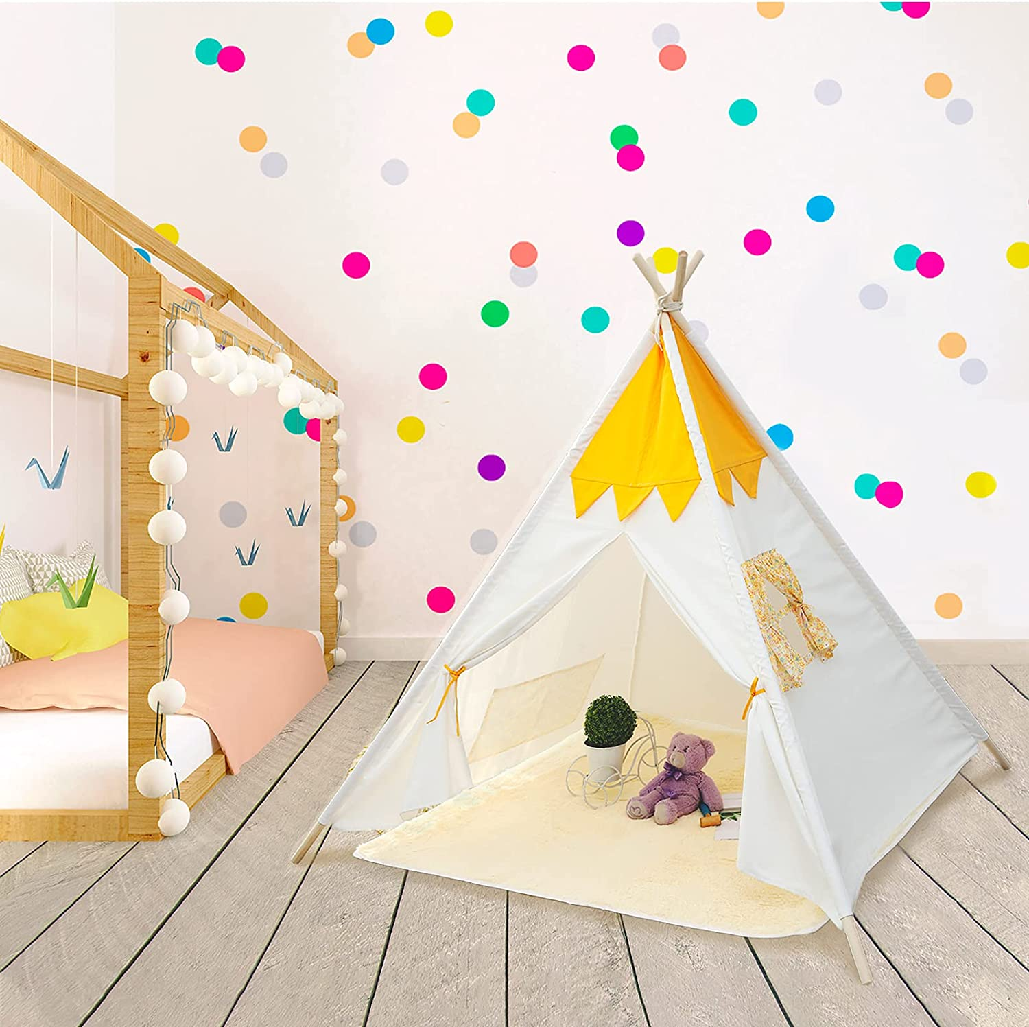 Teepee Tent for Kids Foldable Play Tent for Girls Boys with Play Mat Kids Canvas Tent Children Decor Tipi Toddler Playhouse for Indoor Outdoor Toys for Kids Birthday Gift