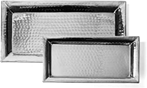 Colleta Home Silver Hammered Trays - Silver Serving Trays and Platters - Appetizer Tray - Chrome Platters (2 Pack Rectangle Platters)