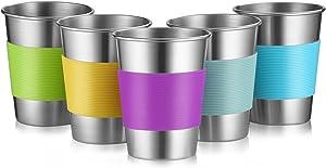 Stainless Steel Cups for Outdoor Indoor Activities and Kids, 12 Oz Metal Drinking Tumbler Unbreakable Beer Cups None BPA, Set of 5 (5)