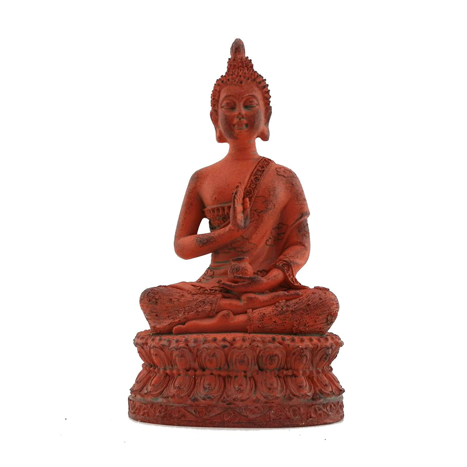 ornerx Thai Sitting Buddha Statue for Home Decor Verdigris 6.7