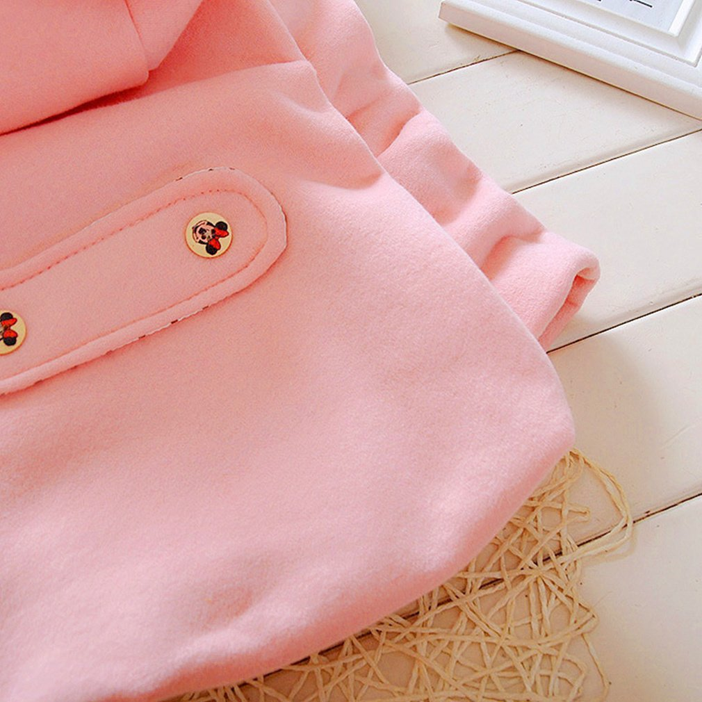 Nine Minow Kids Baby Girls Autumn Winter Warm Double-Breasted Hooded Coat Outerwear 3 Color