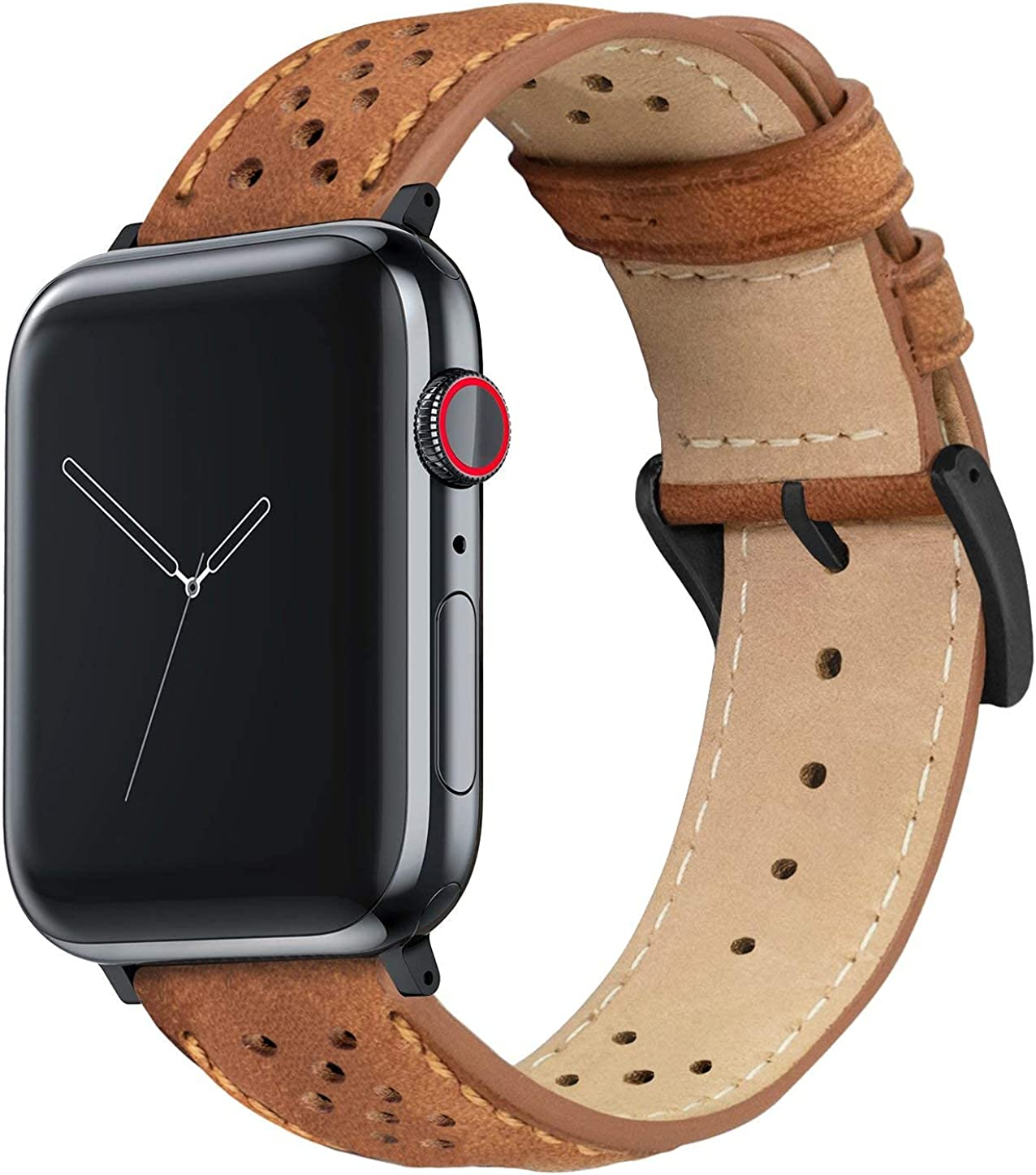 BARTON Racing & Rally Horween Leather Watch Bands with Integrated quick release spring bars - Compatible with all Apple Watch Models - Series 5, 4, 3, 2 & 1 - Size 38mm, 40mm, 42mm or 44mm