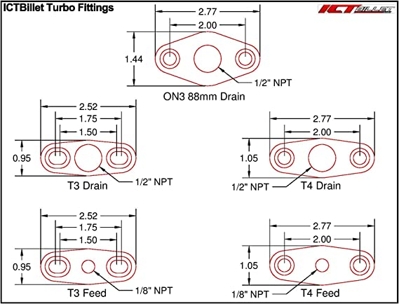 ICT Billet Heavy Duty GT15-GT35 Aluminum Turbo Oil Return Drain Flange T3 1//2npt GT25 GT30 HD National Pipe Thread Designed /& Manufactured in the USA551163