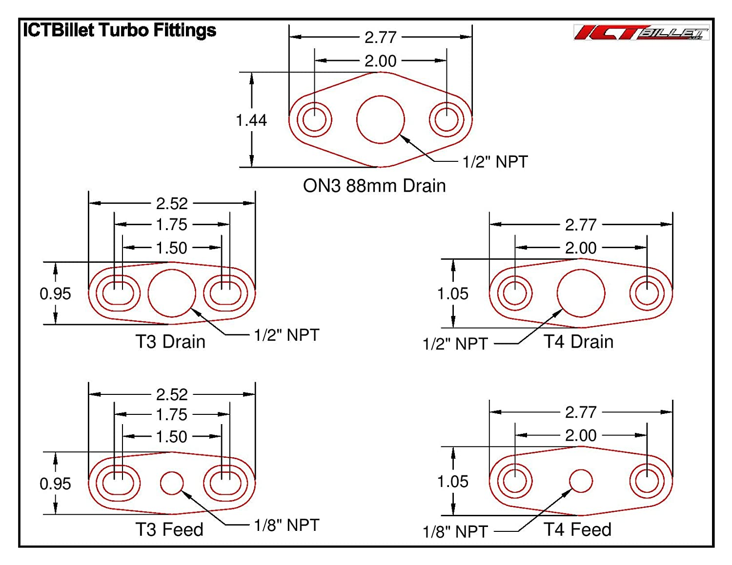 ICT Billet GT40-GT55 Billet Turbo Oil Supply Feed Flange Garrett T4 GT42 GT45 GT47 1//8npt 551160