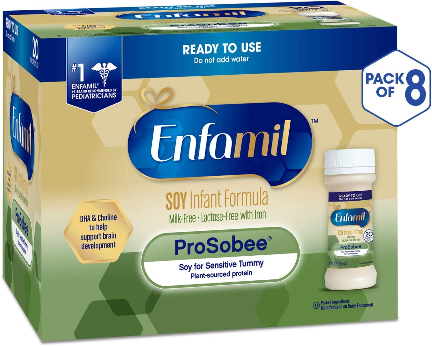Enfamil ProSobee Soy Sensitive Tummy Baby Formula Dairy-Free Lactose-Free Milk-Free Plant Protein Ready to Use 2 fl. oz. bottles Nursette (48 bottles) Omega 3 DHA & Iron, Immune & Brain Support