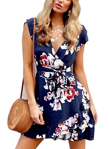 dfac60df7b FFLMYUHULIU Women's Chic Sexy Deep V-Neck Floral Print Ruffles Hem Short  Sleeves Party Summer Short Mini Dress ZC01-F0035lanse-S at Amazon Women's  Clothing ...