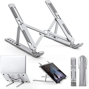 """ACKO Laptop Stand, Portable Aluminum Laptop Riser Computer Stand, 6 Levels Adjustable Ergonomic Foldable Notebook Holder, Compatible with MacBook Air Pro iPad, HP, Dell, Lenovo,10-15.6""""Laptops"""