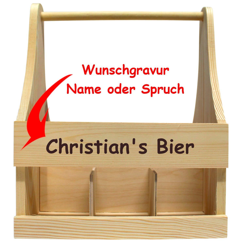 Geschenkissimo Biertrager Aus Holz Mit Gravur Mit Name Oder Spruch