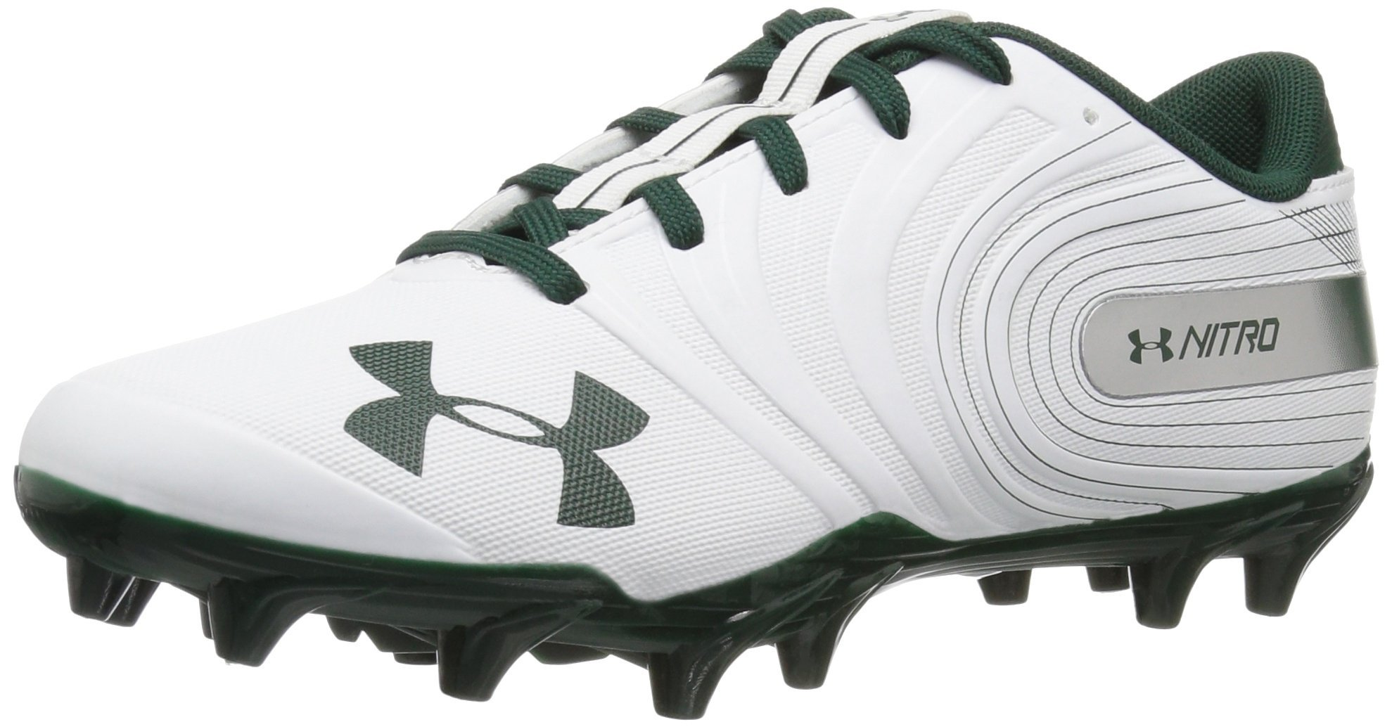 Under Armour Men's Nitro Low MC Football Shoe, White (102)/Forest Green, 6.5