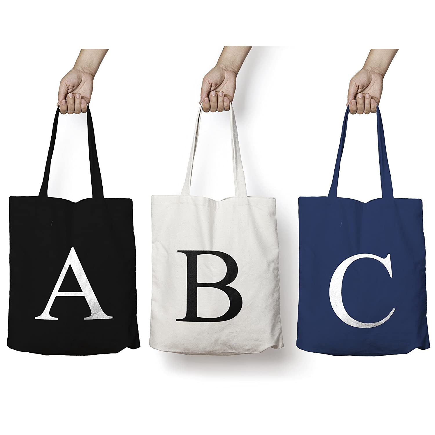 174bec29b Personalised Tote Bag ANY LETTER Alphabet Printed Cotton Tote Shopper Bag:  Amazon.co.uk: Handmade