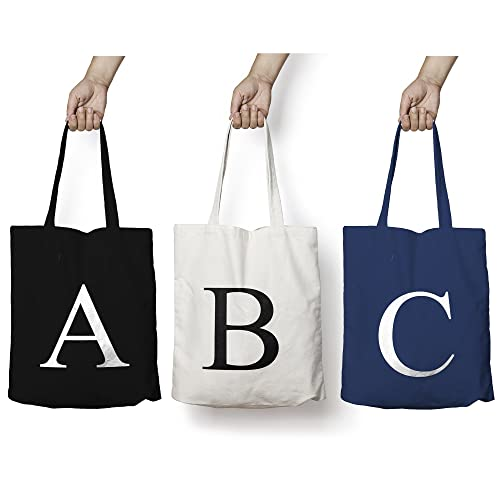 bb15f7a75ca2 Personalised Tote Bag ANY LETTER Alphabet Printed Cotton Tote Shopper Bag   Amazon.co.uk  Handmade