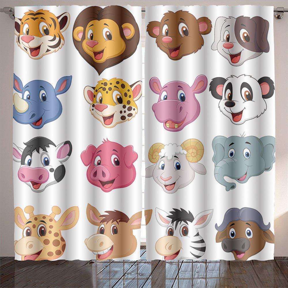 Analisahome cartoon animal head collection set Bedroom/Living Room/2 Panels