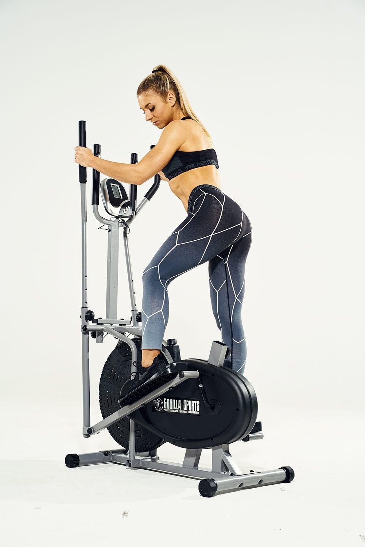 GORILLA SPORTS/® Crosstrainer mit Trainingscomputer Grau Ellipsentrainer bis 110 kg belastbar