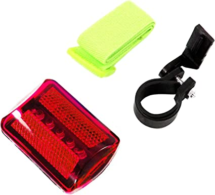 New 5 LED 7 Function Red Flashing Safety Light w Arm Band /& Bike Mount