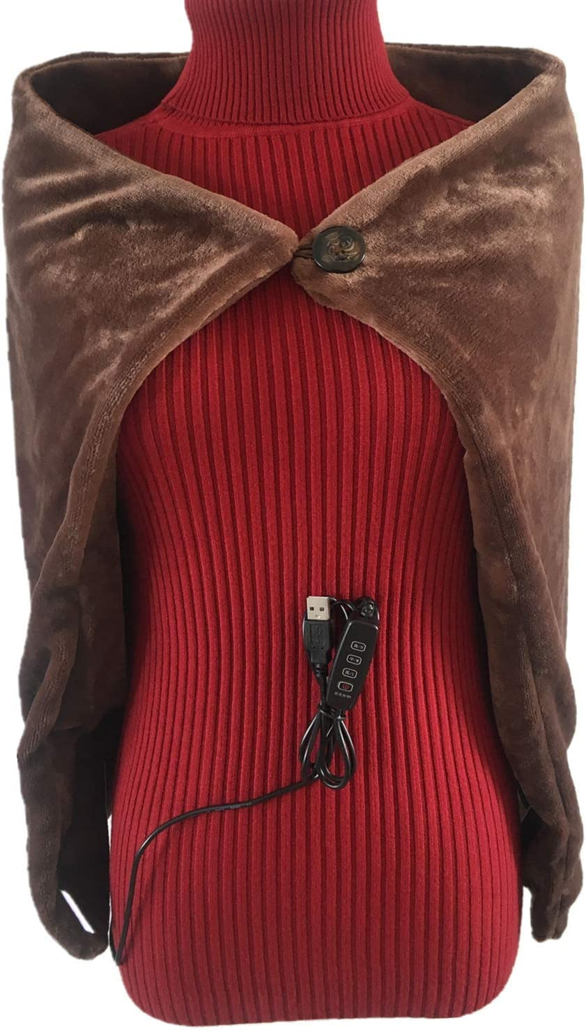 CEBuy USB Heated Shawl, Electric Blanket Throws 5V/2A-3-Heat Setting 34X22 Inch for Car Office Home (Coffee)