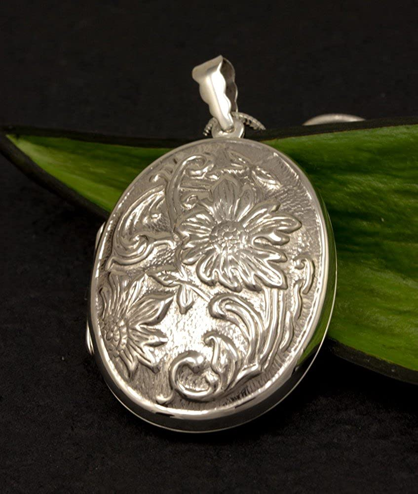 ASS 925 Silver Large Locket Pendant Patterned Rie/ße oval Chain Pendant Opens 55 MM