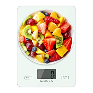 Digital Kitchen Food Scale 11 lb Digital Display with Tare Function,Multifunction Measures in g,oz,lb:oz,ml,fl.oz with Auto-Off,Digital Kitchen Weight for Food,Cooking and Baking