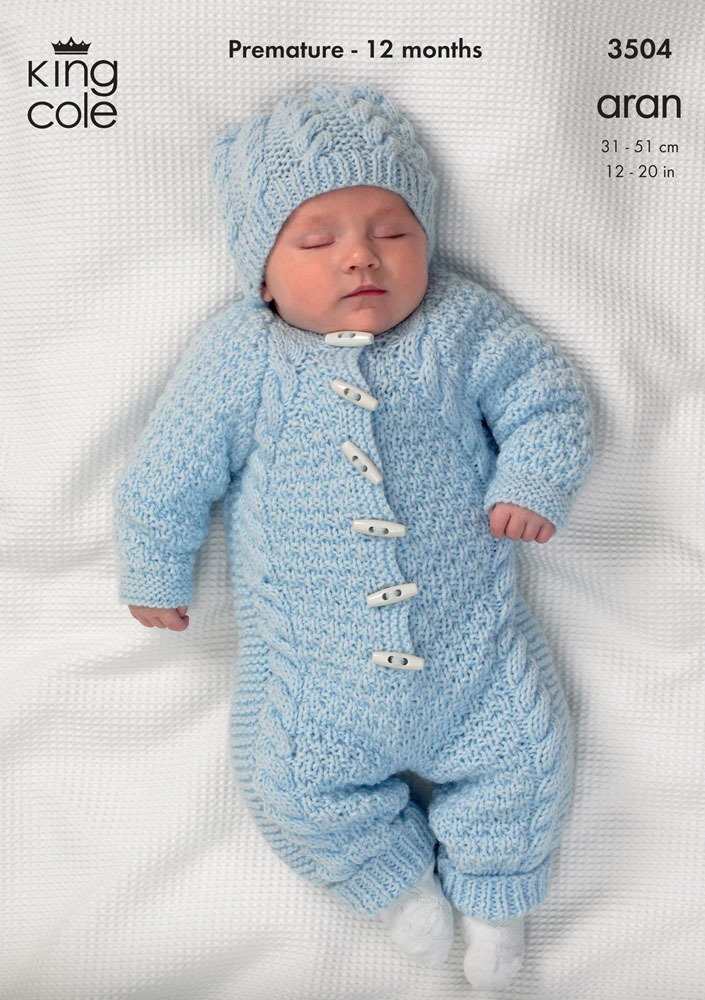 3bf3acbe2f65 King Cole Baby All-In-One Comfort Aran Knitting Pattern 3504 by King ...