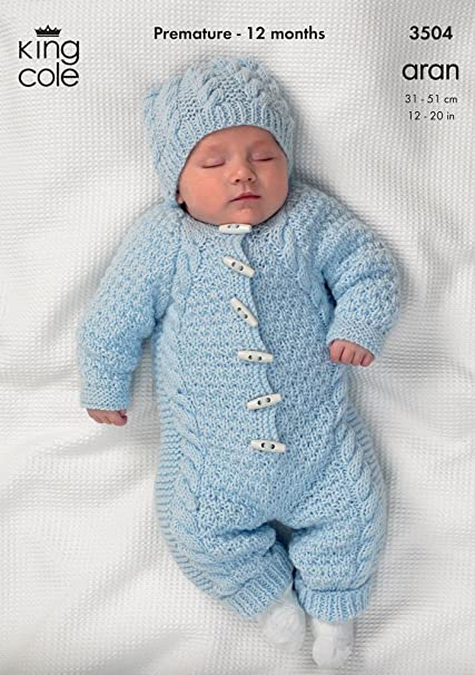 d11ede1fc King Cole Baby All-In-One Comfort Aran Knitting Pattern 3504 by King ...