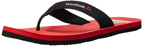 0f834981b2cc Reebok Men s Adventure Flip Black and Red Rush Flip-Flops and House  Slippers - 11