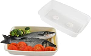 HOME-X Microwave Fish and Poultry Steamer, Large Microwave Dish with Lid, Microwave Steamer Tray Set, Microwave-Safe Plastic, 13