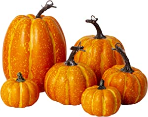 6Pcs Assorted Sizes Artificial Pumpkins Decoration Harvest Fall Orange Pumpkins Fake Foam Pumpkins for Fall Autumn Decor Thanksgiving Halloween Decorations