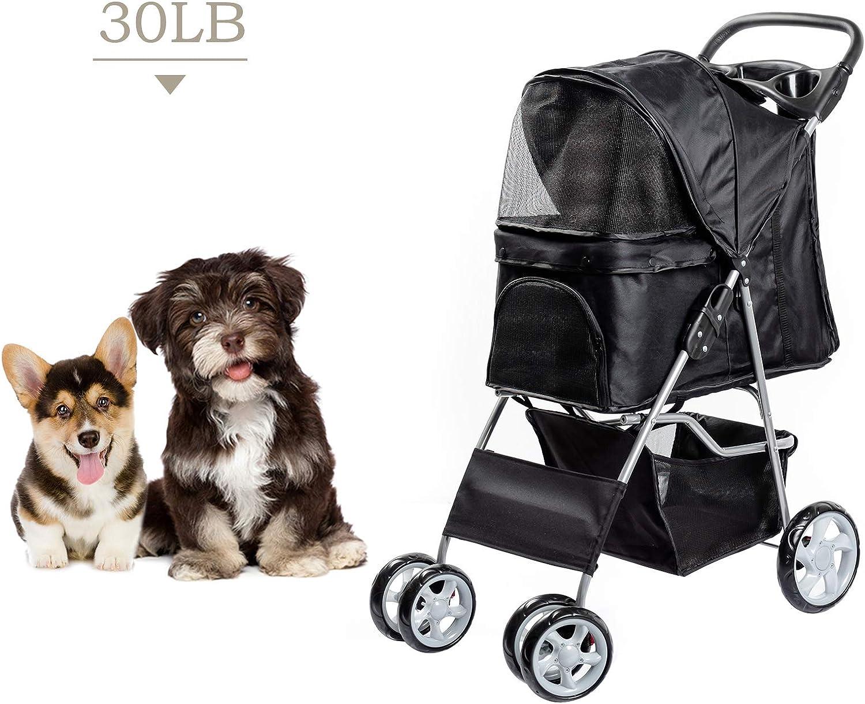 Dawoo Carrito para Mascotas De 4 Ruedas para Gatos/Perros, Carrito De Jogging Fácil De Plegar, con Canasta De Almacenamiento y Portavasos (Negro)