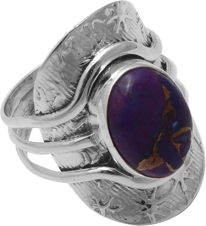 Silver Palace Oval Púrpura Turquesa Piedras Preciosas Plata de Ley Trío Caña Estrella Grabado Dedo Largo Anillo de Mujer Talla-9.5